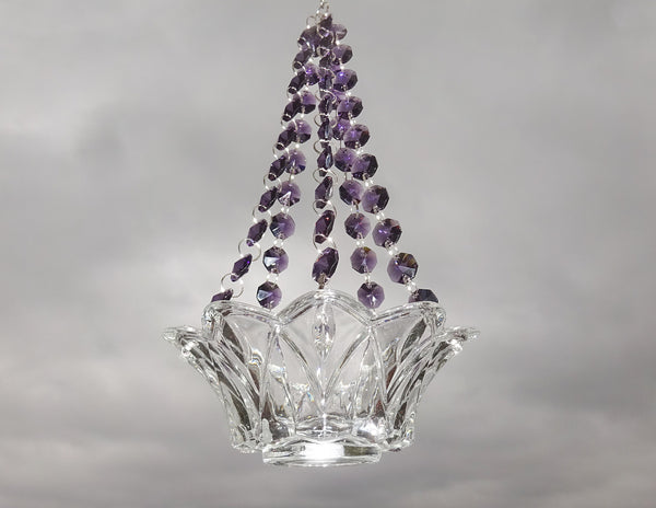 Purple Glass Chandelier Tea Light Candle Holder Wedding Event or Garden Feature 1