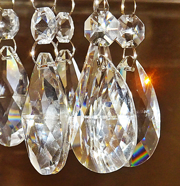 Clear Cut Glass Oval 50 mm / 2 inch Chandelier Crystals Drops Almond Beads Droplets Prisms Transparent 3