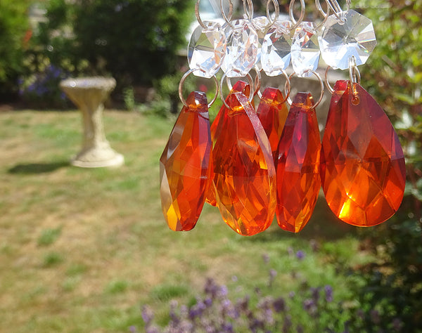 "Orange Cut Glass Oval 37 mm 1.5"" Chandelier Crystals Drops Beads Droplets Light Parts 10"