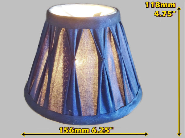 Navy Blue Clip On Bulb Candle Lampshade 6 Inch Chandelier Shade Pleated Chic Classy 1