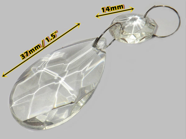 "Clear Cut Glass Oval 37 mm 1.5"" Chandelier Crystals Drops Beads Droplets Transparent 1"