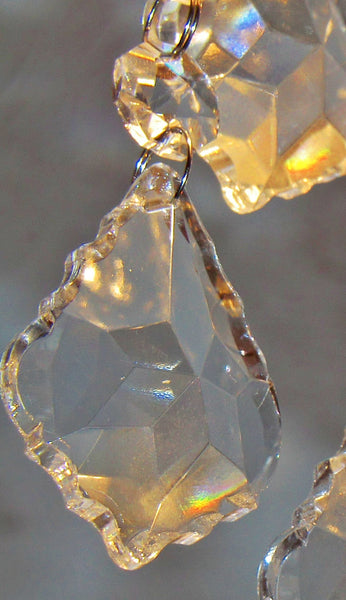 Clear Cut Glass Leaf 50 mm / 2 inch Chandelier Crystals Drops Pendalogues Beads Transparent Droplets Prisms 2