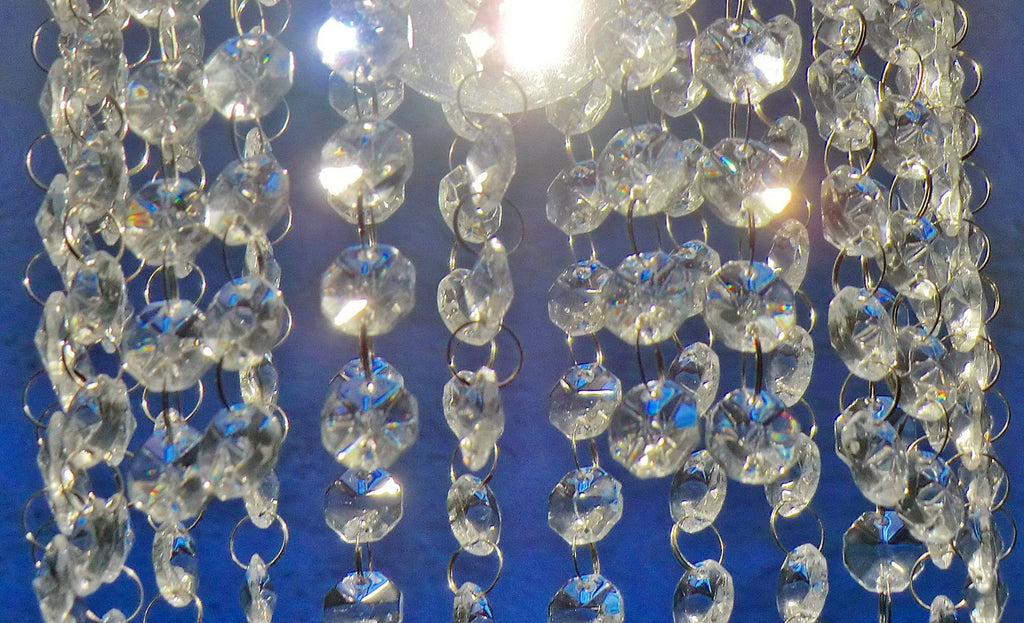 10 Strands Clear 14mm Octagon Chandelier Drops Glass Crystals 2m Garland Beads Droplets 1