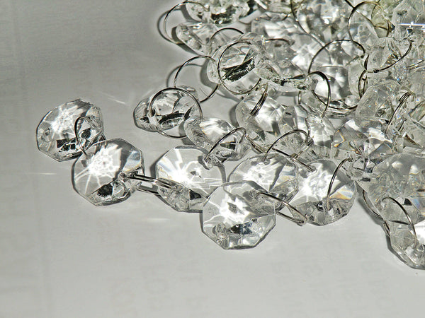 10 Strands Clear 14mm Octagon Chandelier Drops Glass Crystals 2m Garland Beads Droplets 7