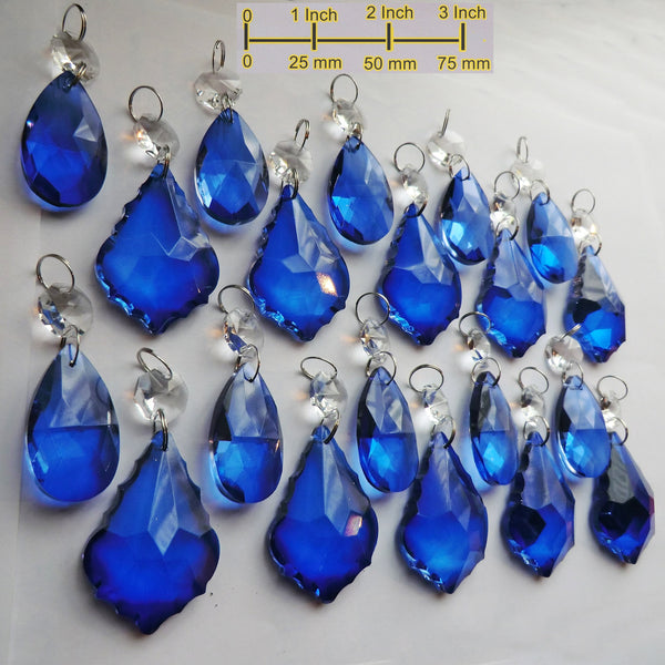 20 Royal Blue Chandelier Drops Cut Glass Crystals Beads Prisms Bundle Droplets Mixed Bundle 3