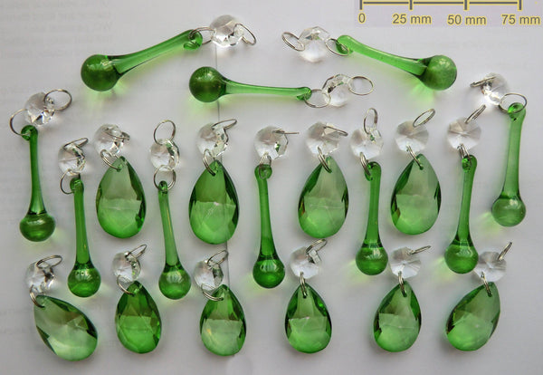 20 Emerald Green Chandelier Drops Crystals Beads Prisms Mix Droplets Light Parts Bundle 4