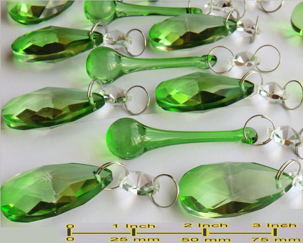 20 Emerald Green Chandelier Drops Crystals Beads Prisms Mix Droplets Light Parts Bundle 5