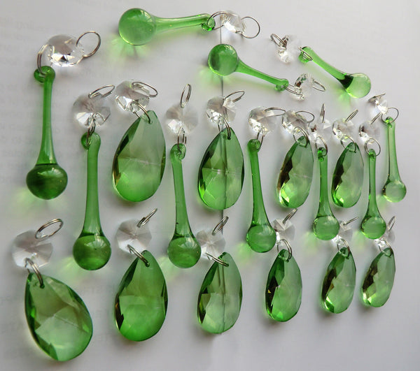 20 Emerald Green Chandelier Drops Crystals Beads Prisms Mix Droplets Light Parts Bundle 7