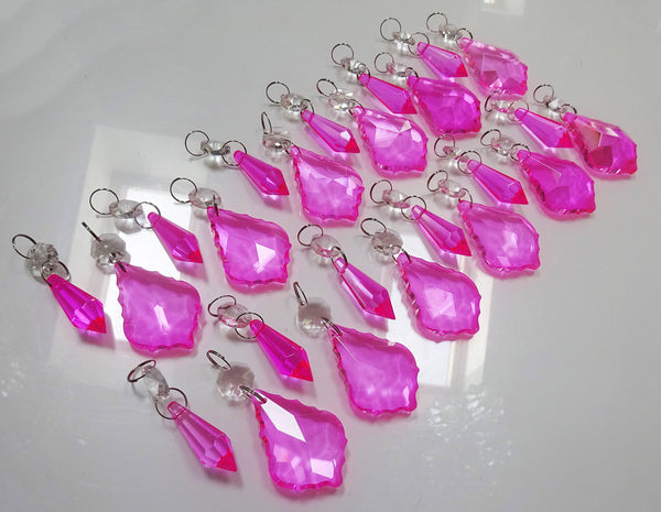 24 Hot Pink Chandelier Crystals Droplets Beads Prisms Cut Glass Drops Light Lamp Parts Spares 12
