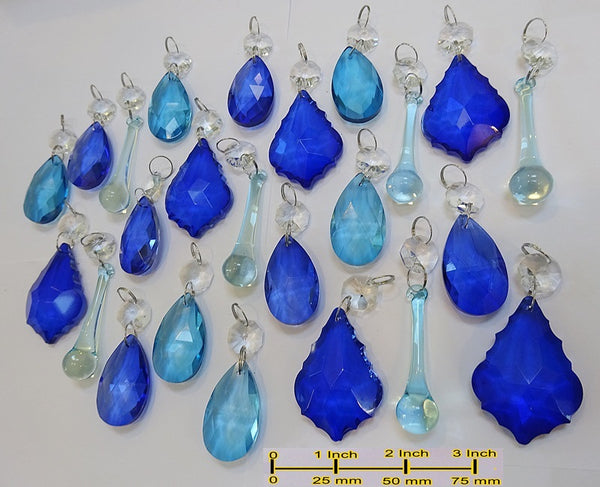 24 Turquoise Teal & Blue Chandelier Drops Hanging Pendant Beads Prisms Cut Glass Crystals Droplets 5