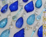 24 Turquoise Teal & Blue Chandelier Drops Hanging Pendant Beads Prisms Cut Glass Crystals Droplets 2
