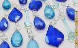 24 Turquoise Teal & Blue Chandelier Drops Hanging Pendant Beads Prisms Cut Glass Crystals Droplets 7