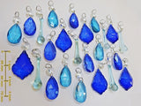 24 Turquoise Teal & Blue Chandelier Drops Hanging Pendant Beads Prisms Cut Glass Crystals Droplets 8