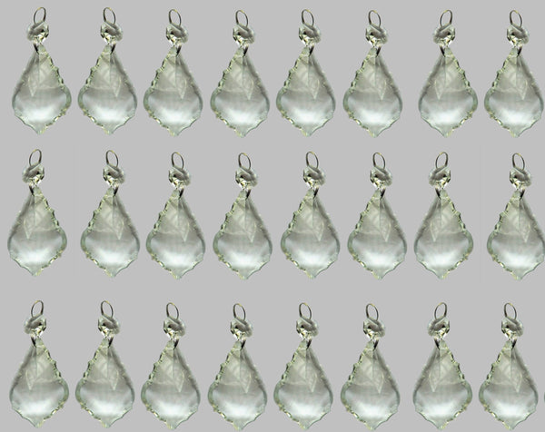 "Clear Cut Glass Leaf 50 mm 2"" Chandelier Crystals Drops Beads Transparent Droplets 10"