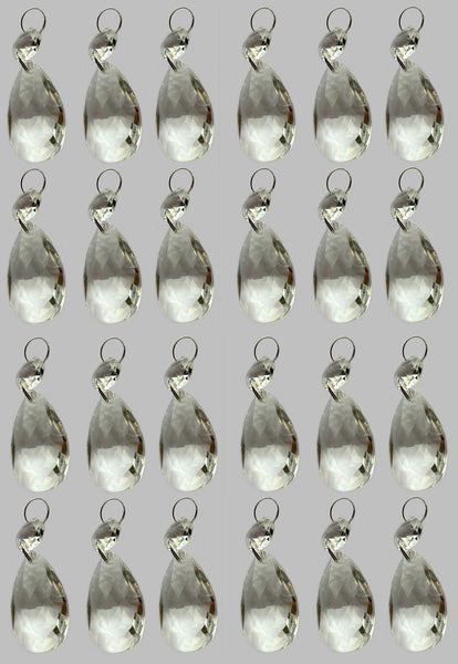 "Clear Cut Glass Oval 37 mm 1.5"" Chandelier Crystals Drops Beads Droplets Transparent 5"