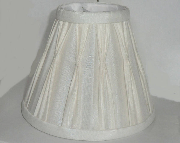 Cream Clip On Bulb Candle Lampshade 6 Inch Chandelier Shade Pleated Poly Silk 4