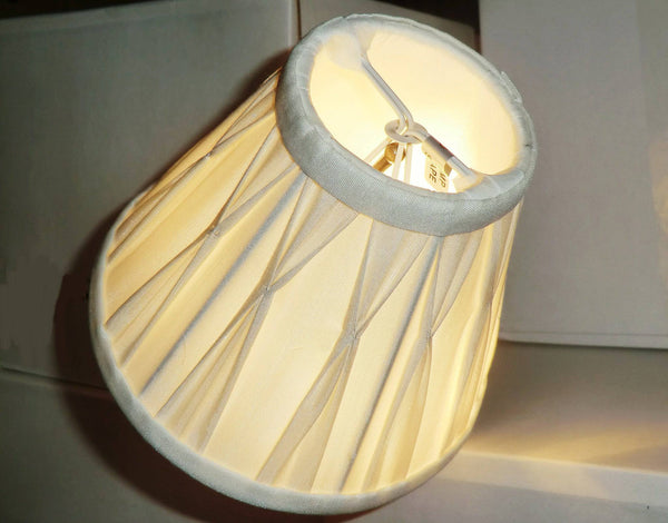 Cream Clip On Bulb Candle Lampshade 6 Inch Chandelier Shade Pleated Poly Silk 3