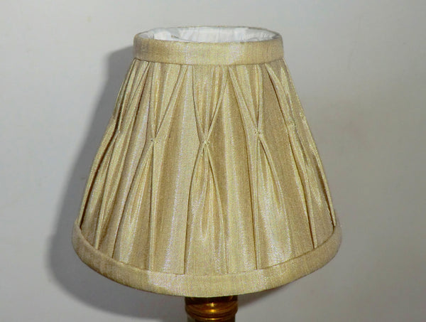 Antique Gold Clip On Candle Lampshade 6 Inch Chandelier Shade Pleated 2
