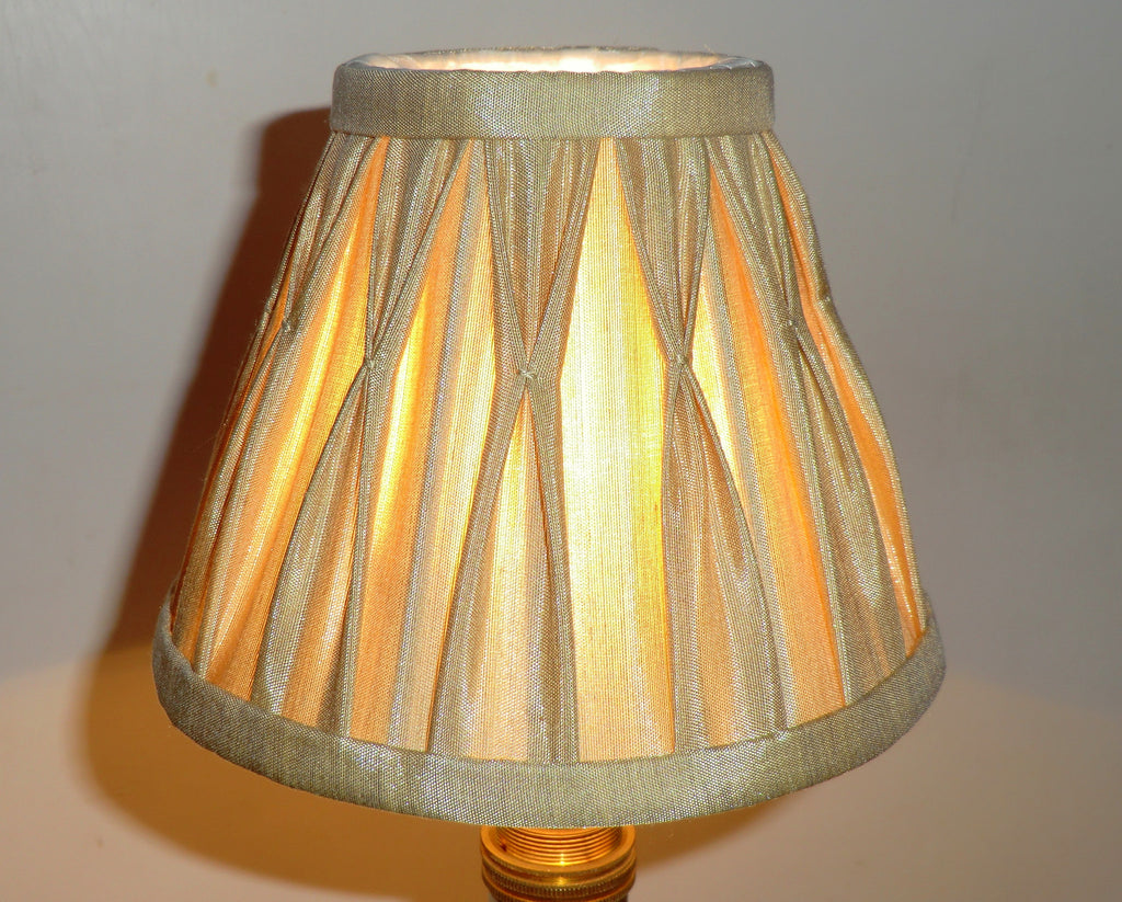 Antique Gold Clip On Candle Lampshade 6 Chandelier Pendant Shade Silk Seear Lights