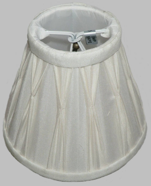 Cream Clip On Bulb Candle Lampshade 6 Inch Chandelier Shade Pleated Poly Silk 5
