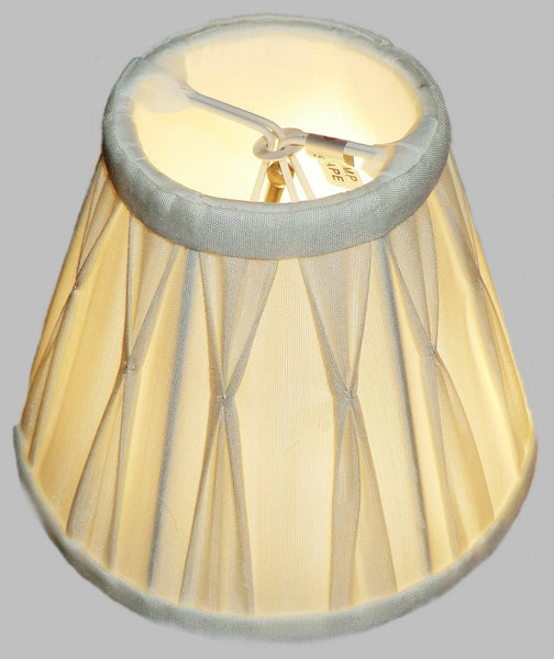 Cream Clip On Bulb Candle Lampshade 6 Inch Chandelier Shade Pleated Poly Silk 6
