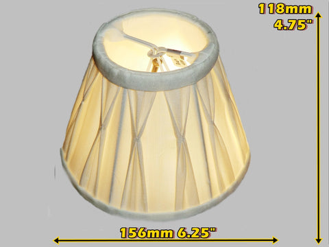 Cream Clip On Bulb Candle Lampshade 6 Inch Chandelier Shade Pleated Poly Silk
