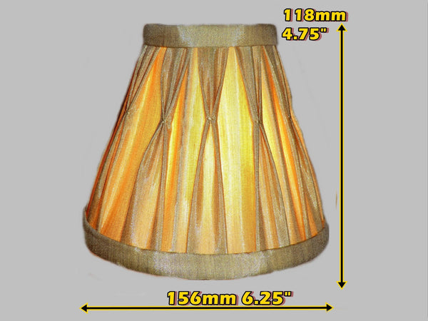 Antique Gold Clip On Bulb Candle Lampshade 6 Inch Chandelier Shade Pleated Poly Silk 1