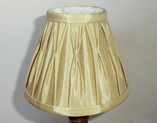 Antique Gold Clip On Bulb Candle Lampshade 6 Inch Chandelier Shade Pleated Poly Silk 2