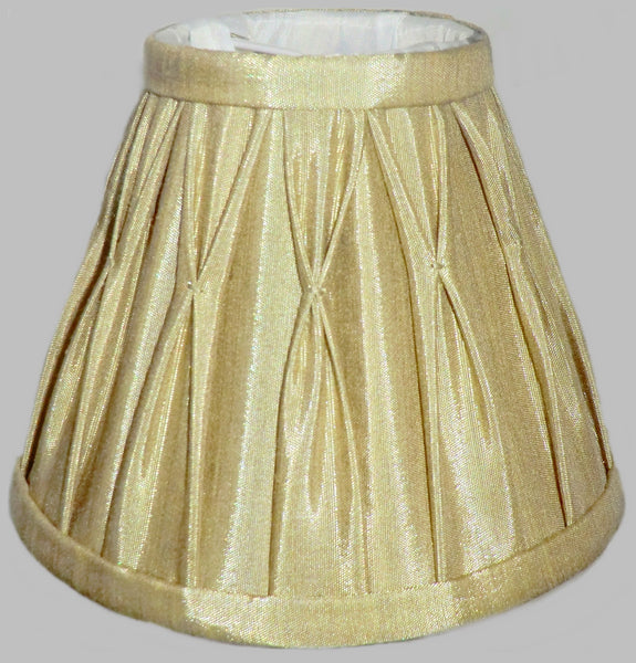 Antique Gold Clip On Bulb Candle Lampshade 6 Inch Chandelier Shade Pleated Poly Silk 3