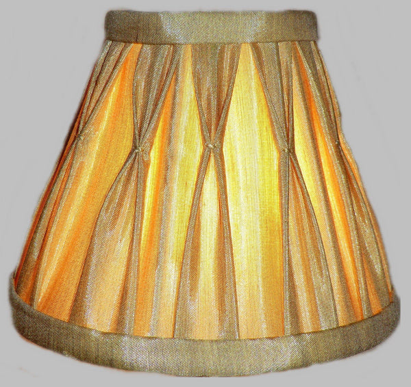 Antique Gold Clip On Bulb Candle Lampshade 6 Inch Chandelier Shade Pleated Poly Silk 4