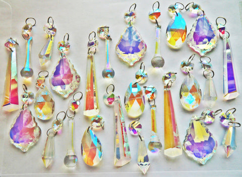 25 Aurora Borealis AB Iridescent Chandelier Drops Cut Glass Crystals Beads Droplets