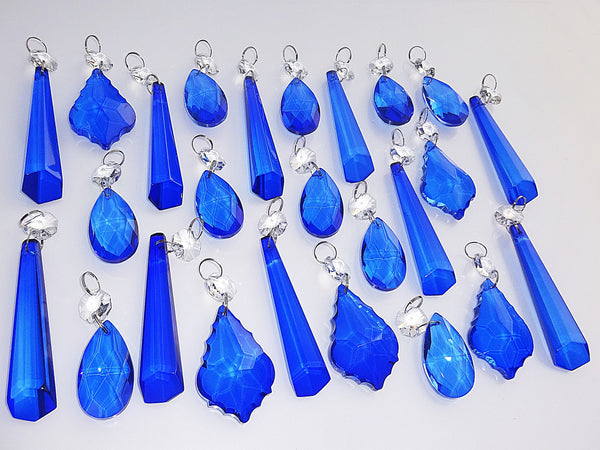 25 Royal Blue Chandelier Drops Cut Glass Crystals Beads Prisms Droplets Light Lamp Parts 1