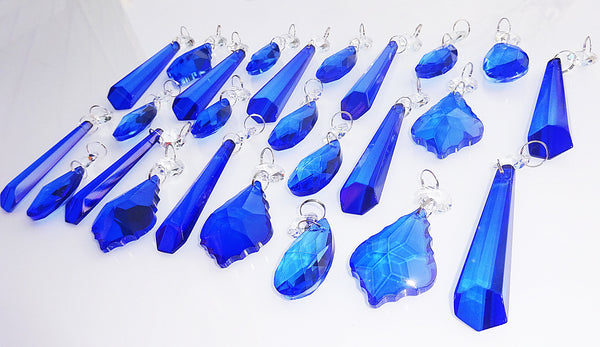 25 Royal Blue Chandelier Drops Cut Glass Crystals Beads Prisms Droplets Light Lamp Parts 4