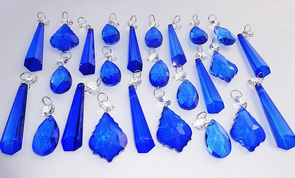 25 Royal Blue Chandelier Drops Cut Glass Crystals Beads Prisms Droplets Light Lamp Parts 6
