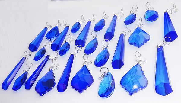 25 Royal Blue Chandelier Drops Cut Glass Crystals Beads Prisms Droplets Light Lamp Parts 9
