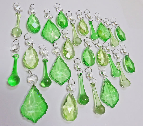 25 Sage & Emerald Green Chandelier Drops Crystals Beads Prism Droplets Mix 8