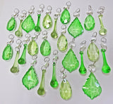 25 Sage & Emerald Green Chandelier Drops Crystals Beads Prism Droplets Mix 2