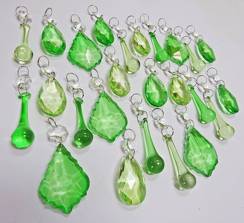 25 Sage & Emerald Green Chandelier Drops Crystals Beads Prism Droplets Mix 4