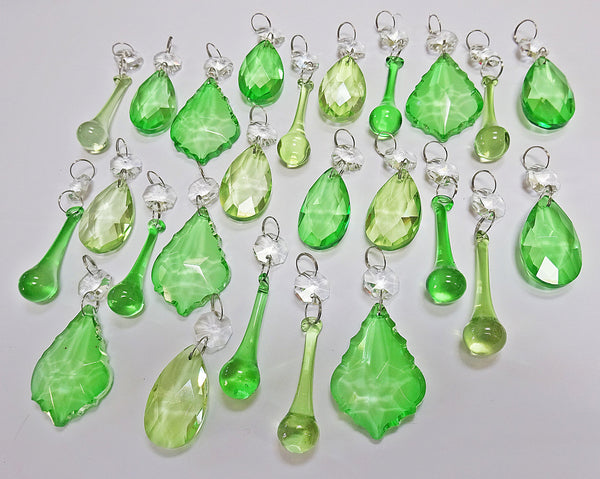 25 Sage & Emerald Green Chandelier Drops Crystals Beads Prism Droplets Mix 5
