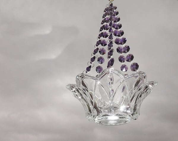 Purple Glass Chandelier Tea Light Candle Holder Wedding Event or Garden Feature 2
