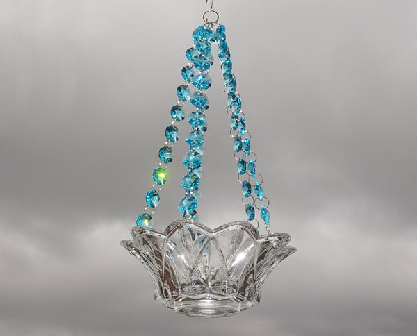 Aqua Teal Glass Chandelier Tea Light Candle Holder Wedding Event or Garden Feature 1