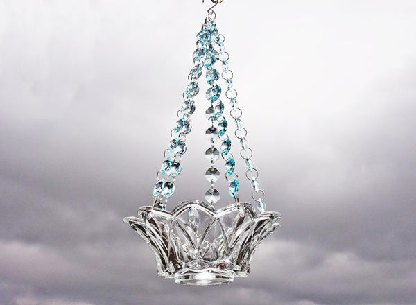 Soft Blue Glass Chandelier Tea Light Candle Holder Wedding Event or Garden Feature 1