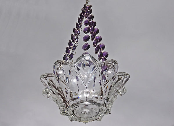 Purple Glass Chandelier Tea Light Candle Holder Wedding Event or Garden Feature 3