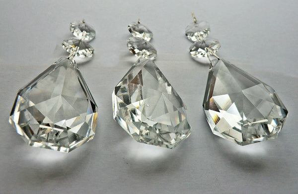 "Clear XL Square Oval 62 mm / 2.5"" Chandelier Crystals Cut Glass Drops Facet Prisms Chain Droplets 6"