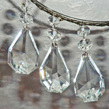 "Clear XL Square Oval 62 mm / 2.5"" Chandelier Crystals Cut Glass Drops Facet Prisms Chain Droplets 7"