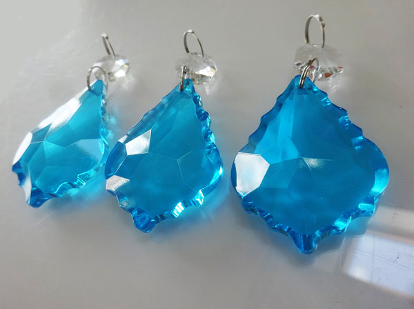 "Teal Blue Cut Glass Leaf 50 mm 2"" Chandelier Crystals Drops Beads Droplets Light Lamp Parts 2"