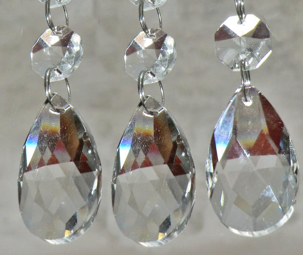 Clear Cut Glass Oval 37 mm / 1.5 inch Chandelier Crystals Drops Almond Beads Droplets Prisms Transparent 2