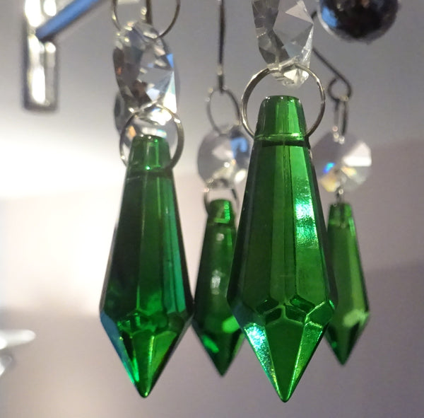 24 Chandelier Drops Mix 6 Designs Colours Cut Glass Crystals Beads Prisms Droplets Lamp Light Parts 5