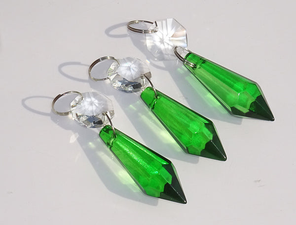 "Emerald Green Cut Glass Torpedo 37 mm 1.5"" Chandelier Crystals Drops Beads Droplets 2"