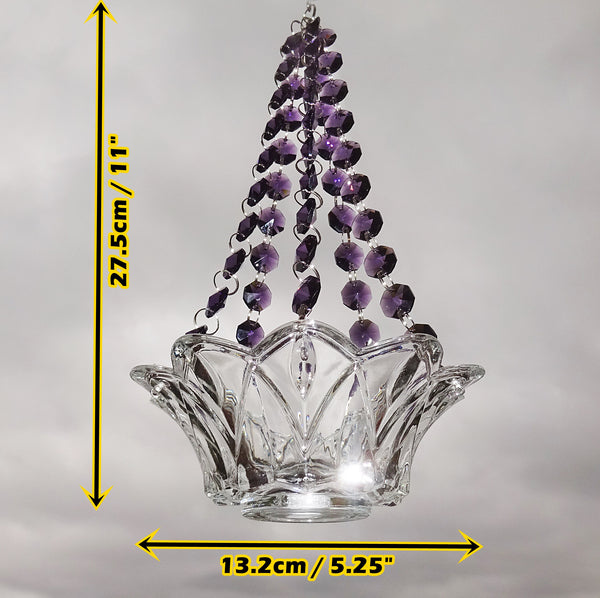 Purple Glass Chandelier Tea Light Candle Holder Wedding Event or Garden Feature 4
